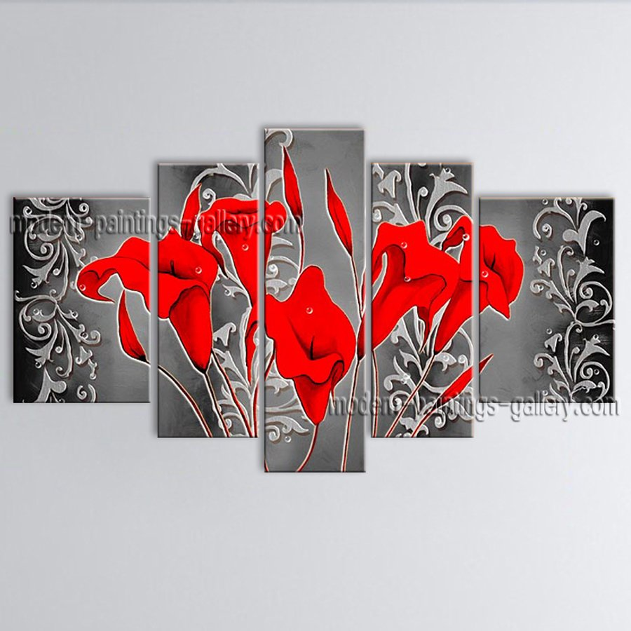 5 Pieces Contemporary Wall Art Floral Painting Lily Flower Artworks