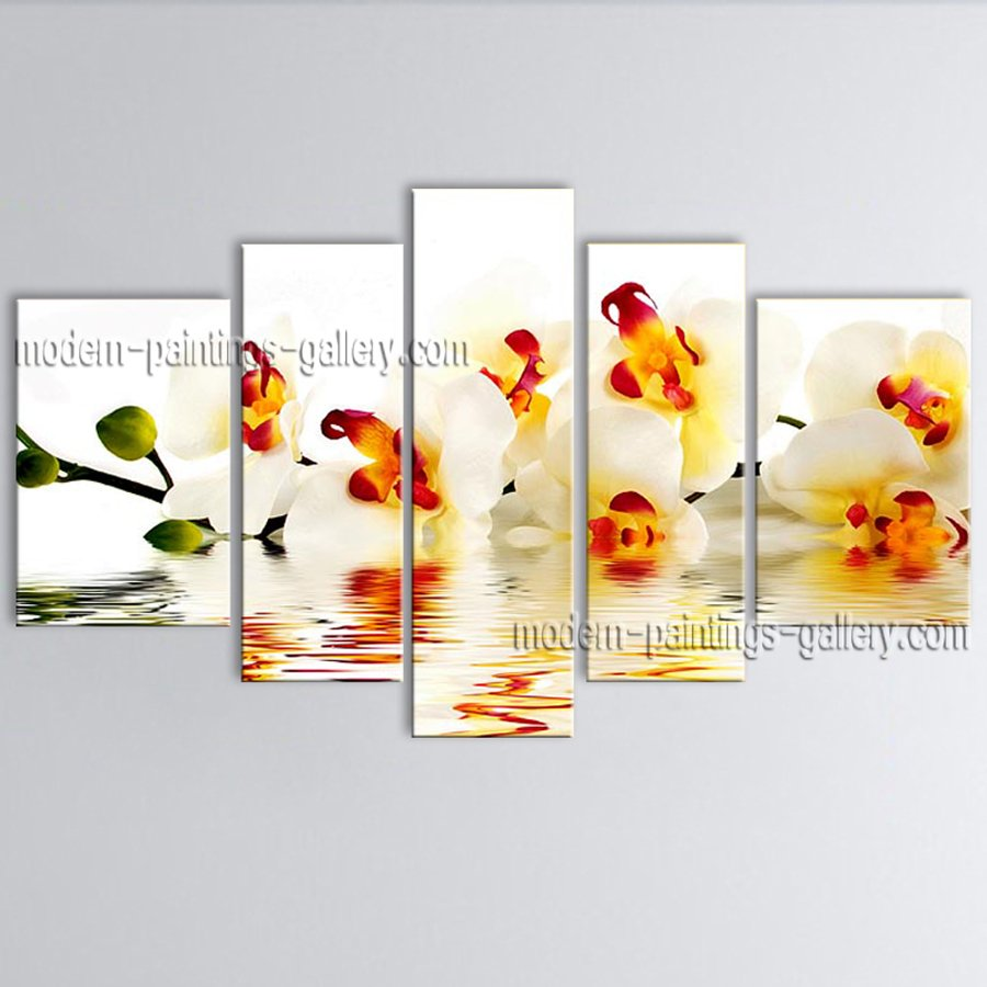 Pentaptych Contemporary Wall Art Floral Painting Poppy Flower Paintings