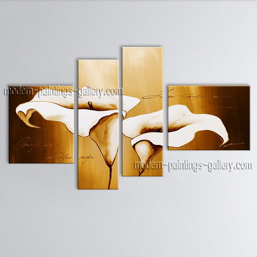 Handmade Large Contemporary Wall Art Floral Painting Lily Flower Paintings