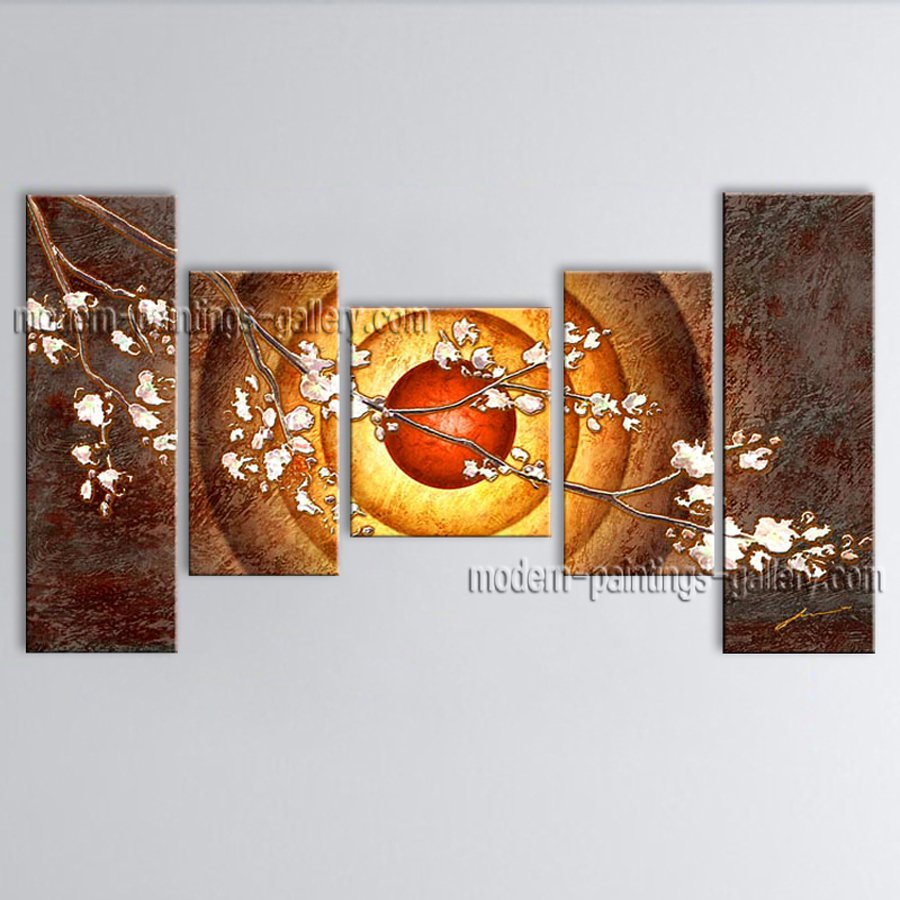 5 Pieces Contemporary Wall Art Floral Cherry Blossom Landscape Scene