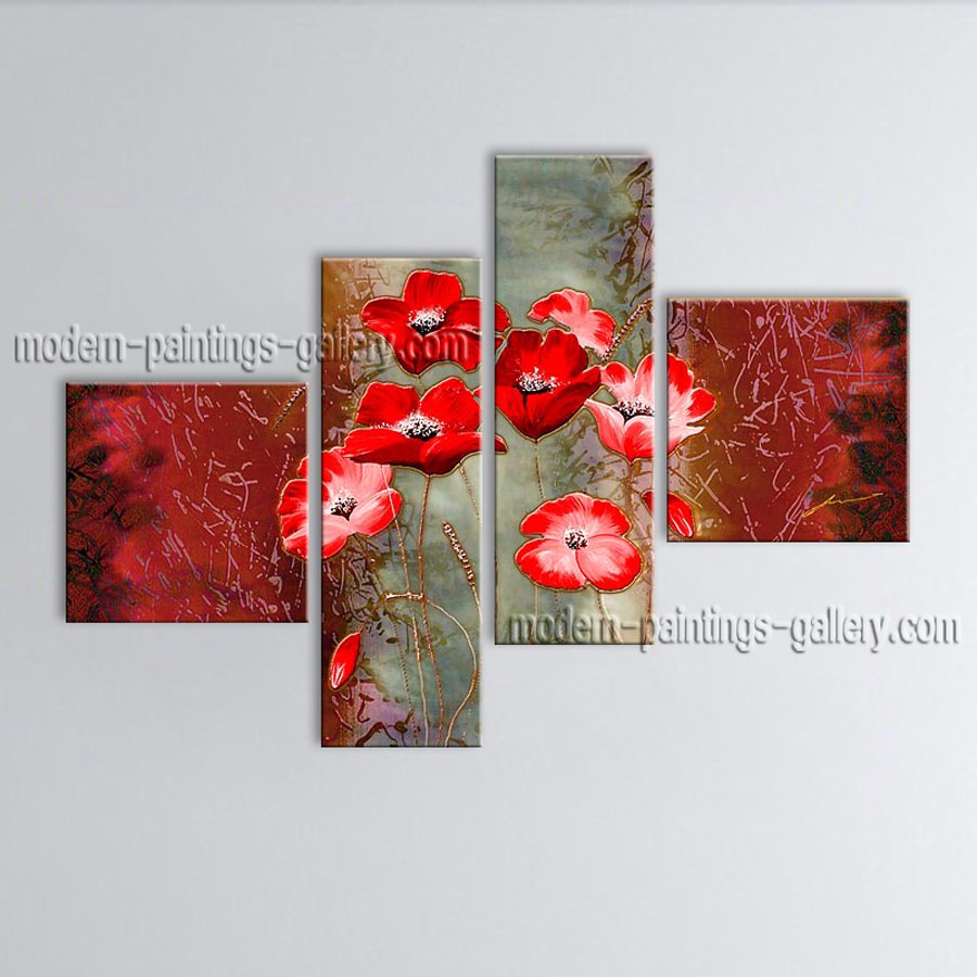 4 Pieces Contemporary Wall Art Floral Poppy Flower Inner Stretched