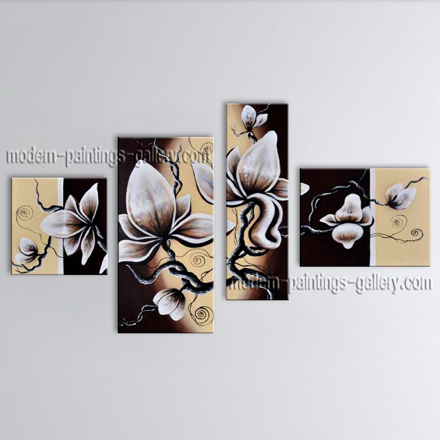 Tetraptych Contemporary Wall Art Floral Painting Tulip Decoration Ideas