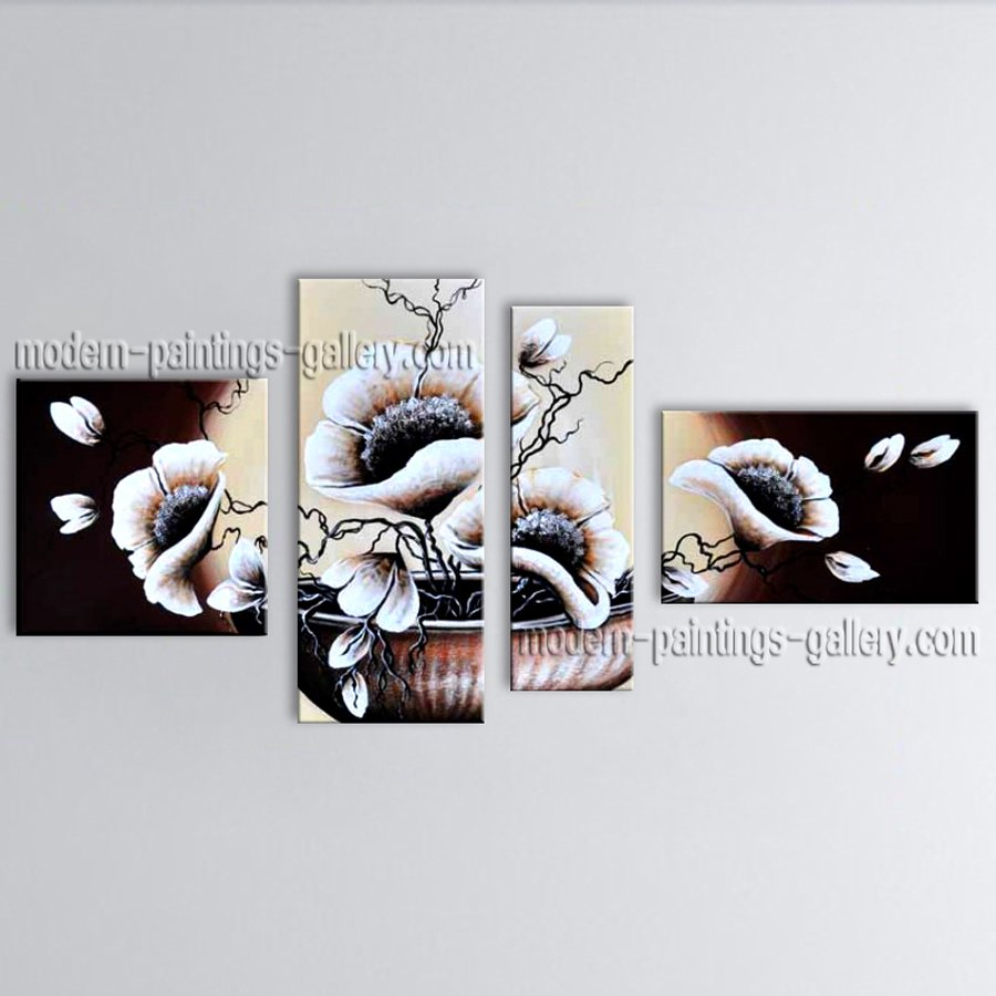 4 Pieces Contemporary Wall Art Floral Painting Poppy Contemporary Decor