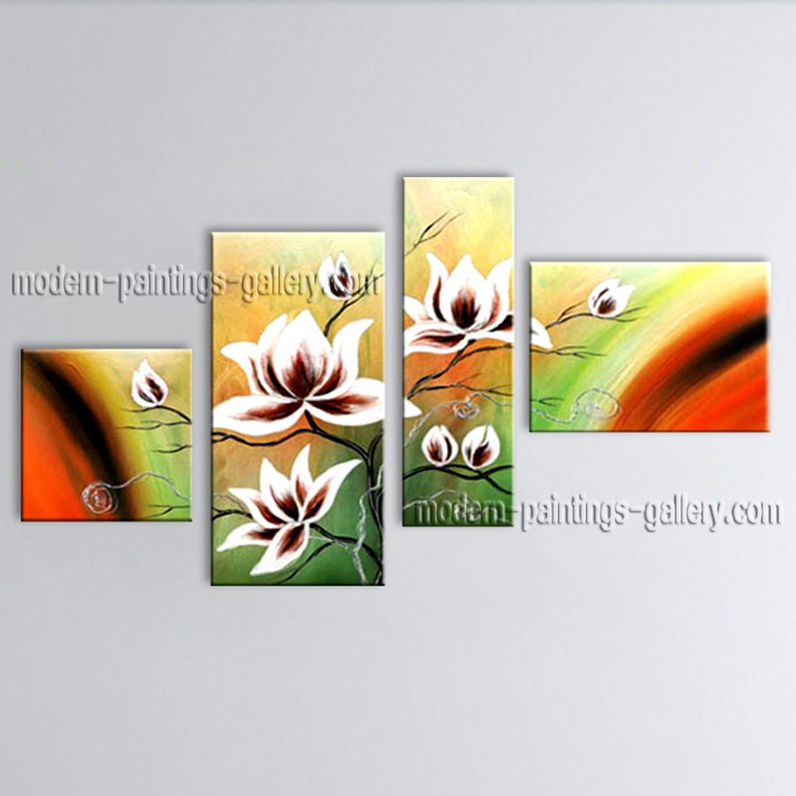 Large Contemporary Wall Art Floral Painting Tulip Flower Inner Stretched