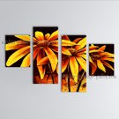 Tetraptych Contemporary Wall Art Floral Painting Daisy Flowers Artwork