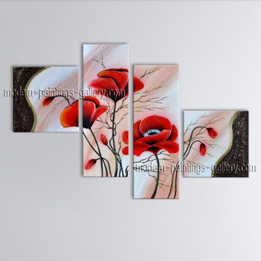 Large Contemporary Wall Art Floral Painting Poppy Flower Inner Framed