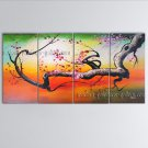 Tetraptych Contemporary Wall Art Floral Plum Blossom On Canvas Artworks