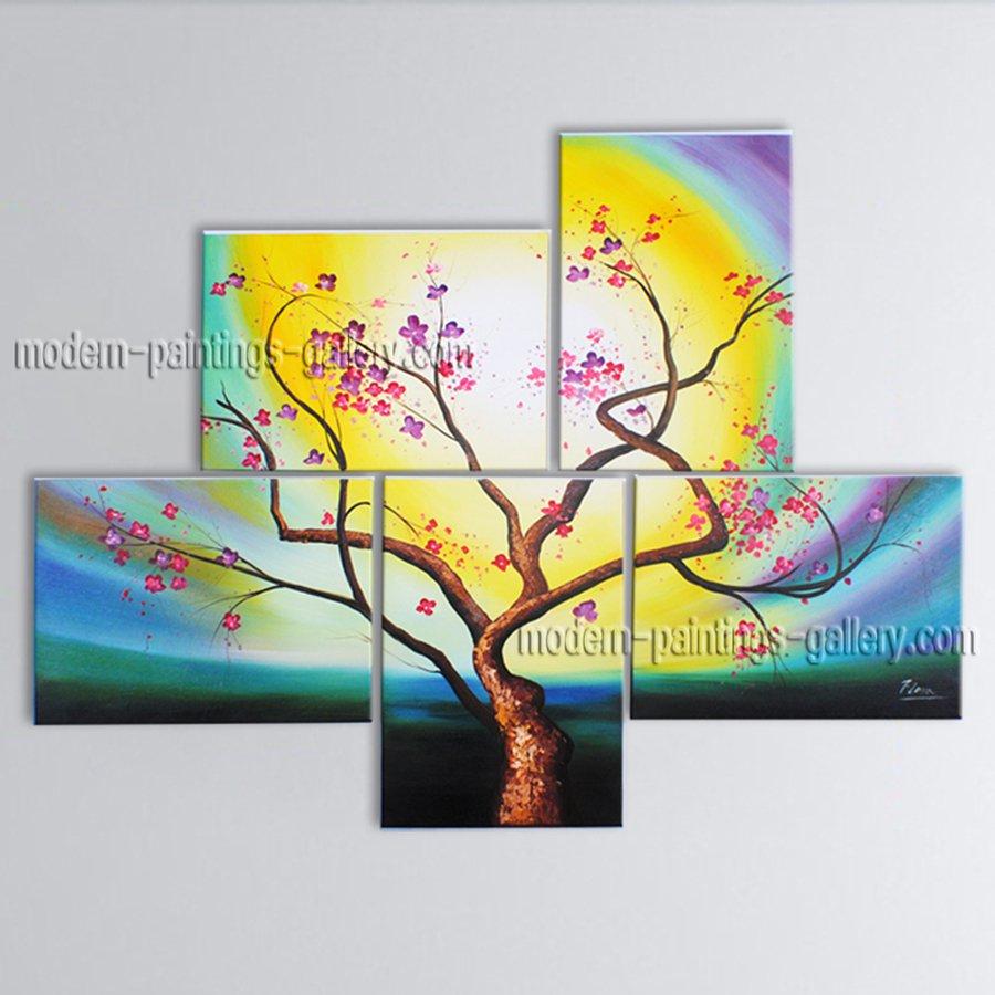 5 Pieces Contemporary Wall Art Floral Plum Blossom Artist Artworks