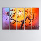 Pentaptych Contemporary Wall Art Floral Plum Blossom Gallery Wrapped