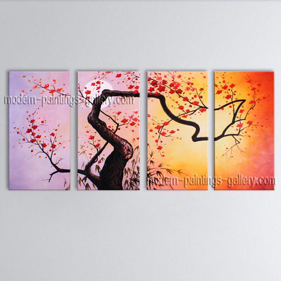 4 Pieces Contemporary Wall Art Floral Plum Blossom Contemporary Decor