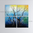 4 Pieces Contemporary Wall Art Floral Plum Blossom On Canvas Artworks
