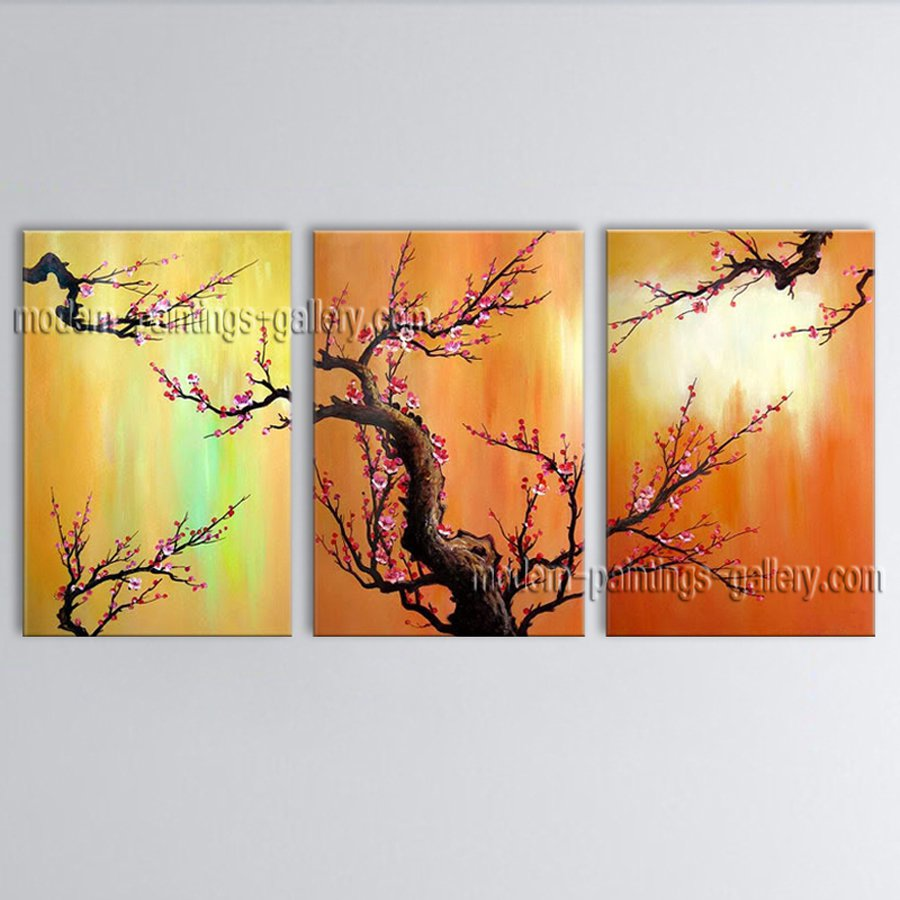 Beautiful Contemporary Wall Art Floral Plum Blossom Inner Stretched