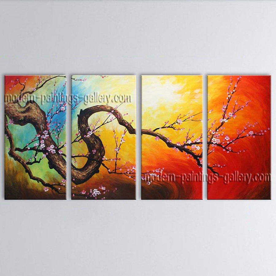 4 Pieces Contemporary Wall Art Floral Plum Blossom Interior Design