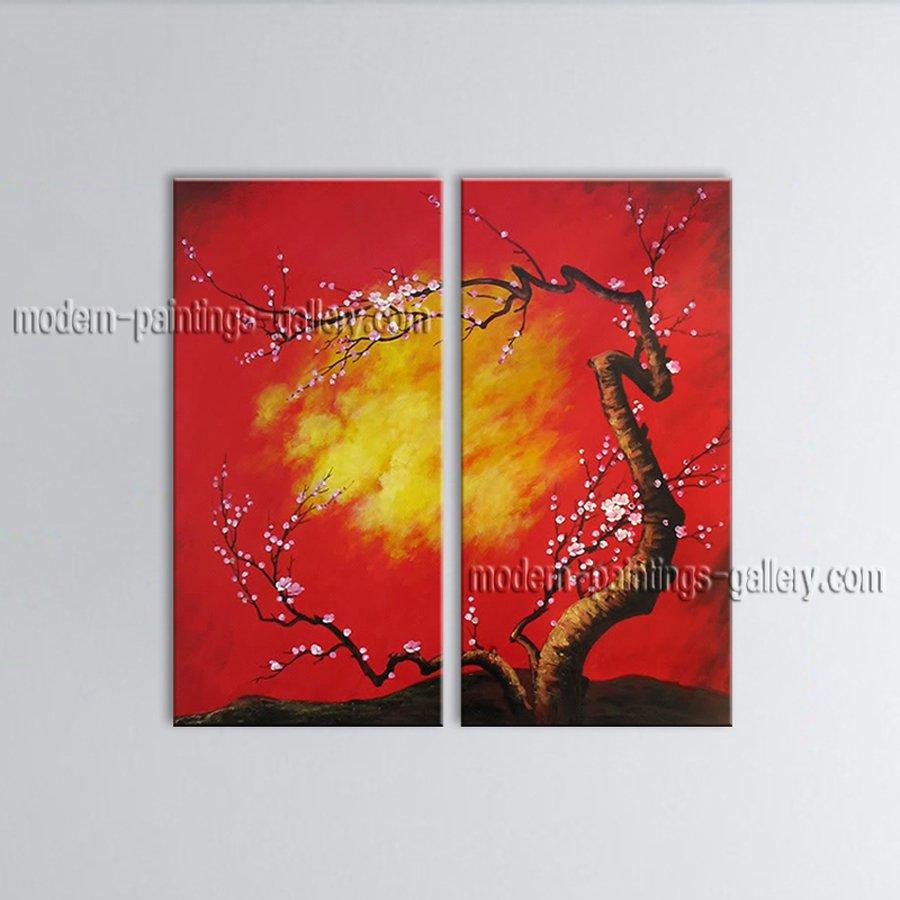 Elegant Contemporary Wall Art Floral Painting Plum Blossom Inner Framed