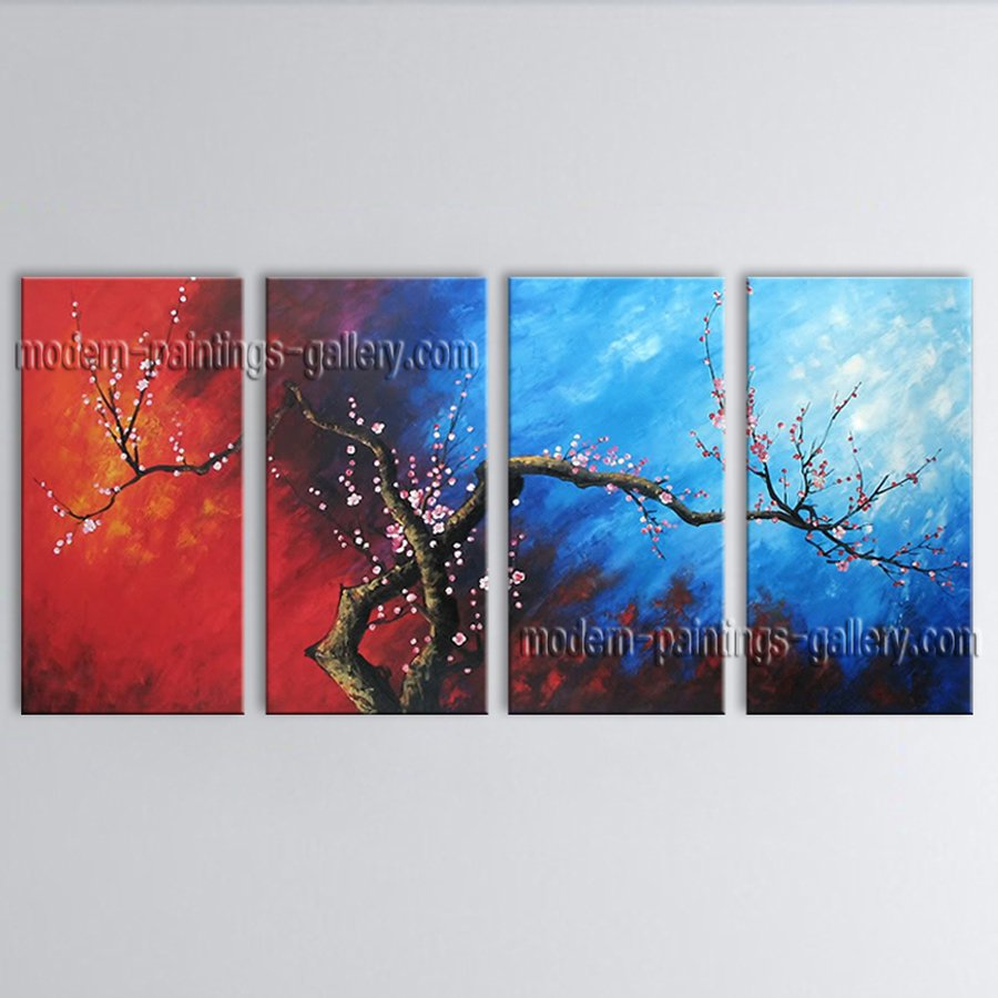 4 Pieces Contemporary Wall Art Floral Plum Blossom Gallery Wrapped