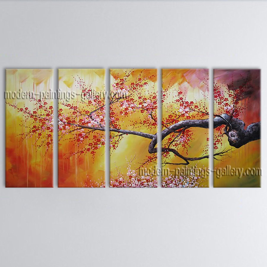 Pentaptych Contemporary Wall Art Floral Cherry Blossom Tree Paintings