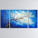 Triptych Contemporary Wall Art Floral Plum Blossom Gallery Wrapped