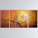 Triptych Contemporary Wall Art Floral Cherry Blossom Landscape Scene