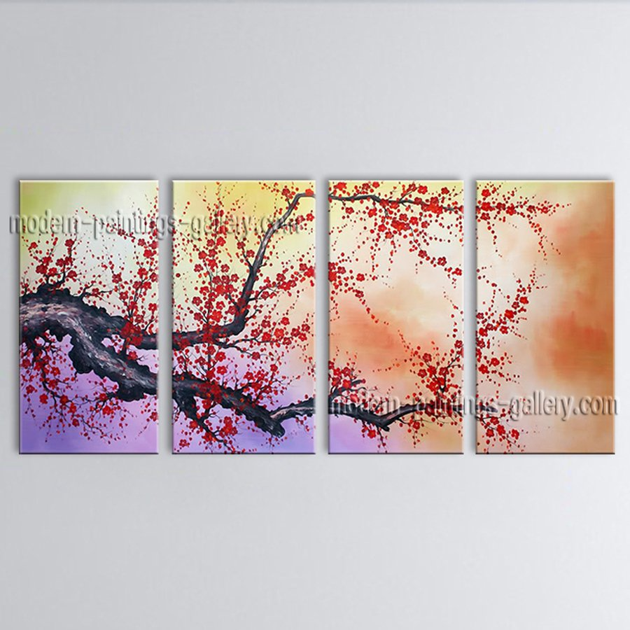 Large Contemporary Wall Art Floral Painting Cherry Blossom Interior Design