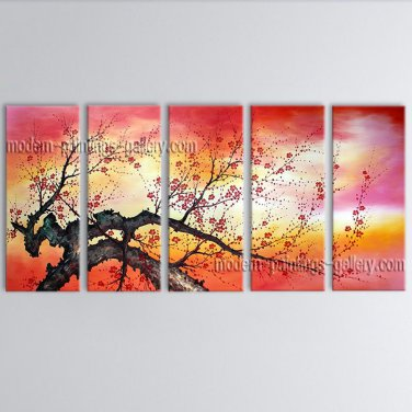 5 Pieces Contemporary Wall Art Floral Cherry Blossom Inner Stretched