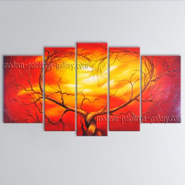 Pentaptych Contemporary Wall Art Landscape Painting Tree Inner Stretched