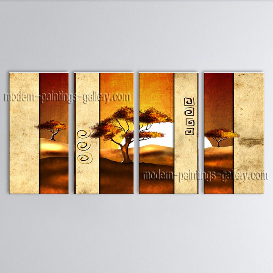 Tetraptych Contemporary Wall Art Landscape Painting Gallery Wrapped