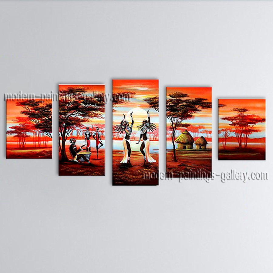 Handmade Large Contemporary Wall Art Landscape Painting Inner Stretched