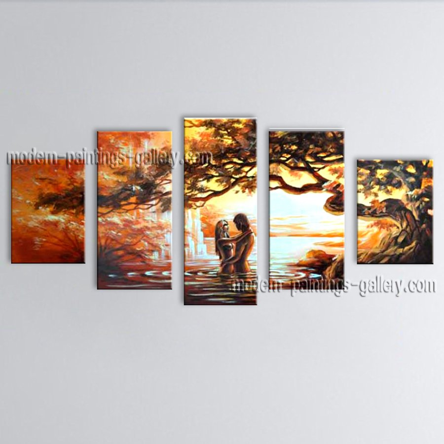 Handmade 5 Pieces Contemporary Wall Art Landscape Painting Gallery Wrapped