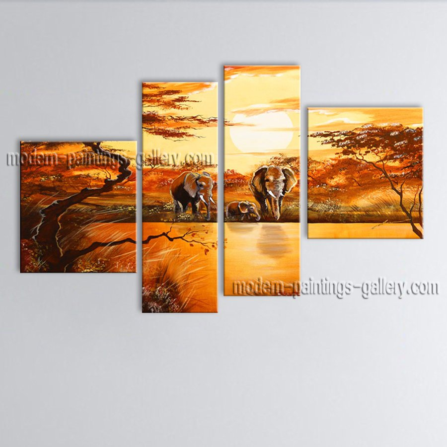 Tetraptych Contemporary Wall Art Landscape Painting Canvas Stretched