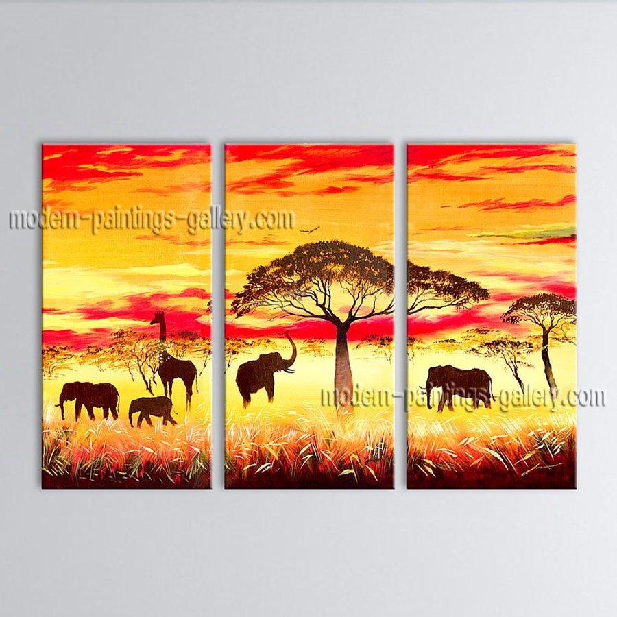 Beautiful Contemporary Wall Art Landscape Painting Africa Sunset Scene