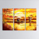 Handmade Triptych Contemporary Wall Art Landscape Painting African Scenery