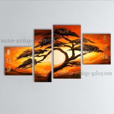 4 Pieces Contemporary Wall Art Landscape Painting Tree Gallery Wrapped