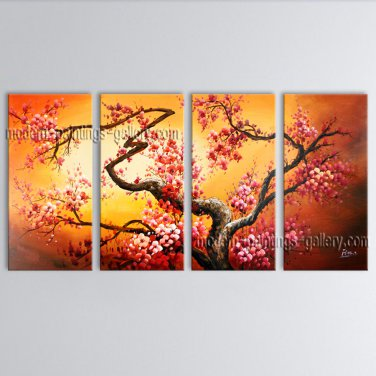 Tetraptych Contemporary Wall Art Landscape Tree On Canvas Artworks