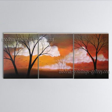 Triptych Contemporary Wall Art Landscape Painting Tree Gallery Wrapped