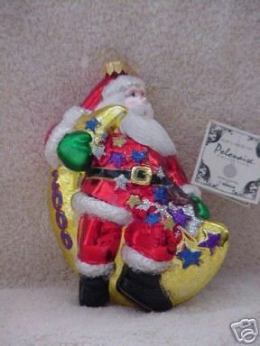 Polonaise Blown Glass Ornament ~ Santa on a Moon 2000
