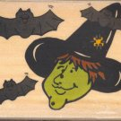 Witch & Bats ~ New Rubber Stamp