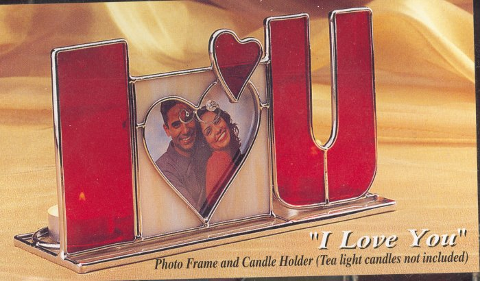 I Love You ~ Stained Glass & Candle Holder Pix Frame