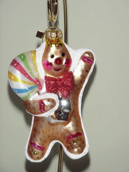 Fitz and Floyd Glass Ornament ~ Gingerbread Boy