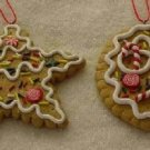 2 Gingerbread Cookie Ornaments ~ Star & Round