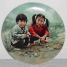 Chinese Chess ~ 1985 Bradex Plate (2 children playing)