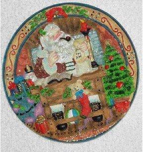 Old World Santa ~ Making A List ~ 3-dimensional Plate