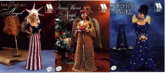3 Barbie Crochet Patterns ~ Independence Angel, Autumn Harvest Angel & Celestial Angel