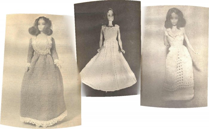 3 Old Barbie Knit Patterns ~ 1970s ~ Revolutionary Era Dress 1775, Ball Gown & Period Gown 1836