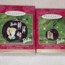 2 Hallmark Ornaments ~ Barbie 1961 & 1962 Hatboxes