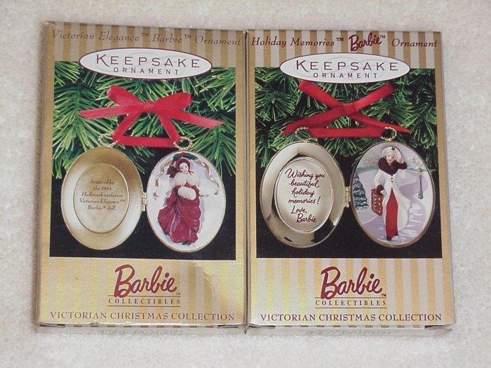2 Hallmark Ornaments ~ Victorian Barbie Lockets ~ 1996 & 1997
