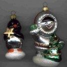 Hallmark Glass Ornament ~ Frosty Friends 1998 ~ set of 2