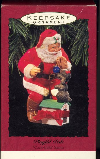 Hallmark Ornament ~ Playful Pals 1993 ~ Santa Puppy and a Coke