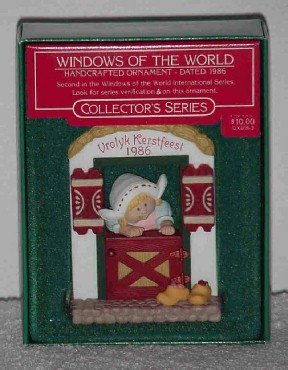 Hallmark Ornament ~ Vrolyk Kerstfeest 1986 ~ Windows of the World series