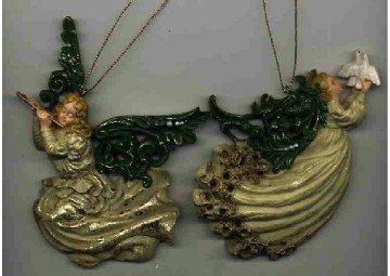 2 Angel Ornaments ~ Dove & Flute