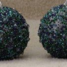 2 Blue Green & Silver Beaded Ball Ornaments